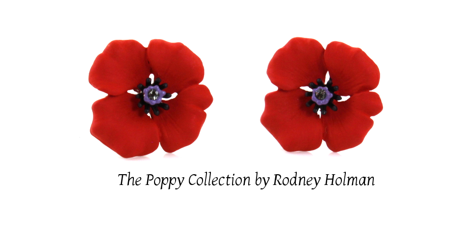 The Poppy Collection by Rodney Holman featuring poppy clip on earrings now on sale