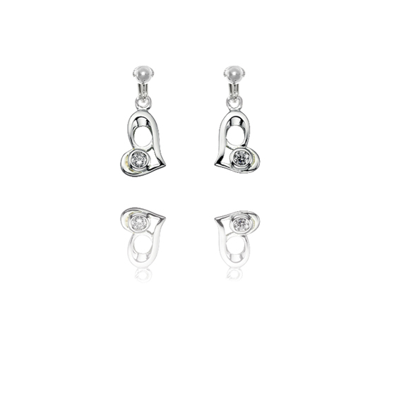 Basics Sterling Silver Cubic Zirconia Funky Heart Clip On Earrings
