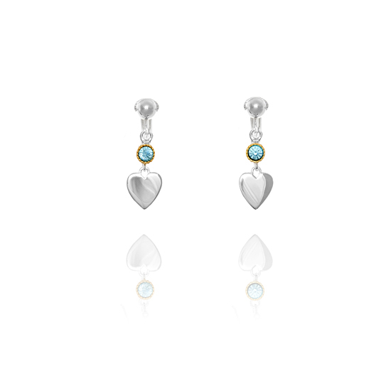 Elements Silver Crystal and Gold Plated Heart Drop Clip On Earrings