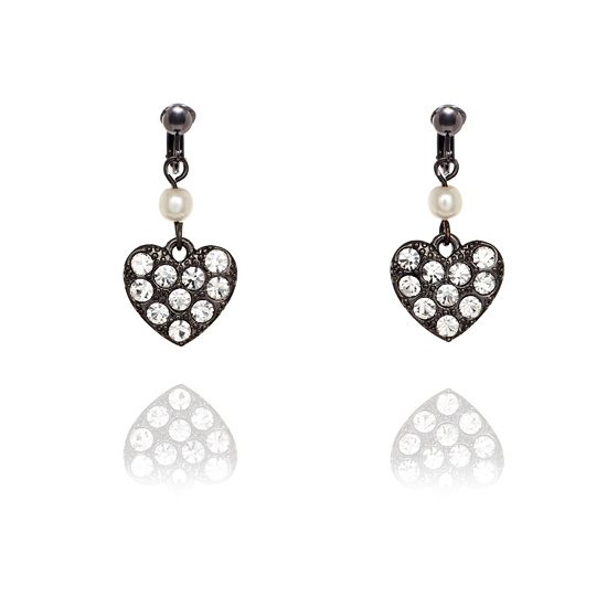 Fiorelli Studded Black Heart Clip On Earrings