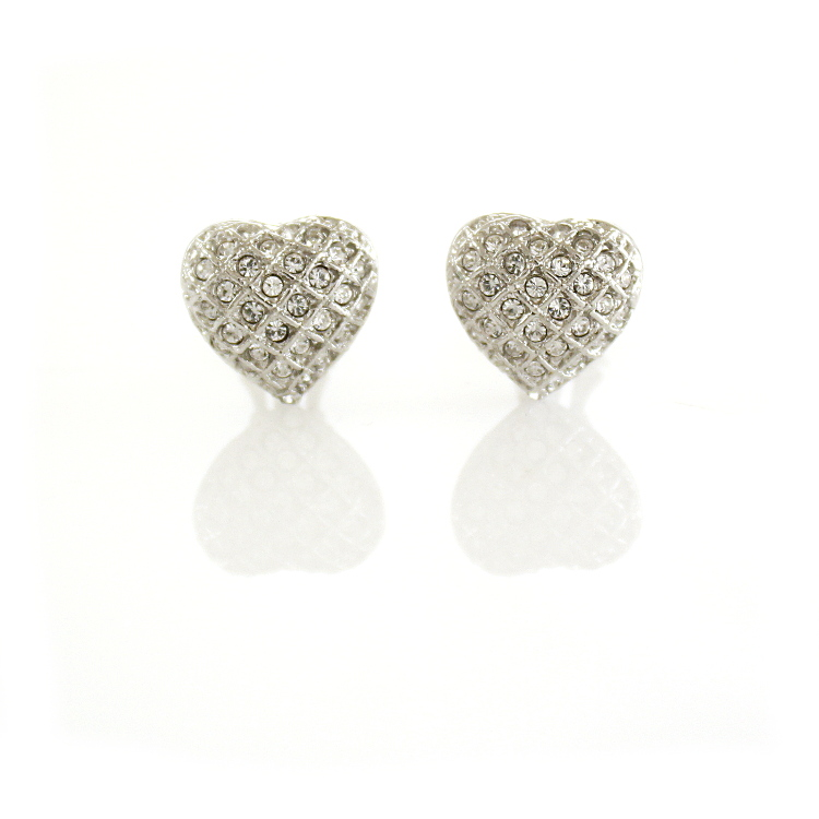 Rodney Holman Dazzling Heart Clip On Earrings