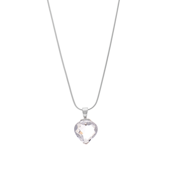 Angel Rocks Heart Shape White Crystal with Silver Necklace