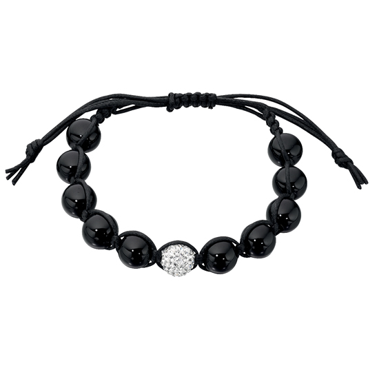Basics Silver Single Crystal and Onyx Friendship Bracelet