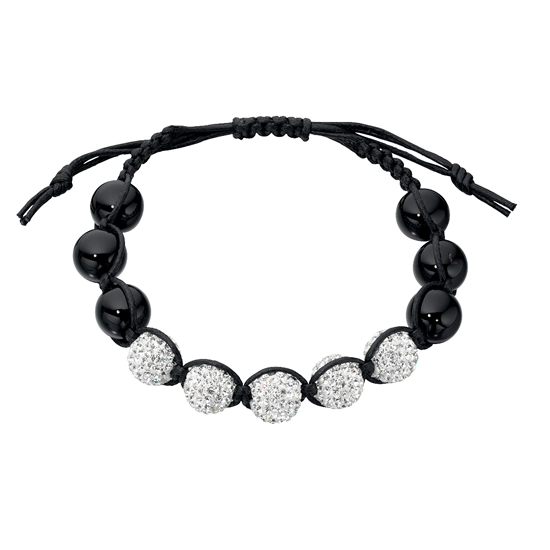Basics Silver Black Onyx and Multi Crystal Friendship Bracelet