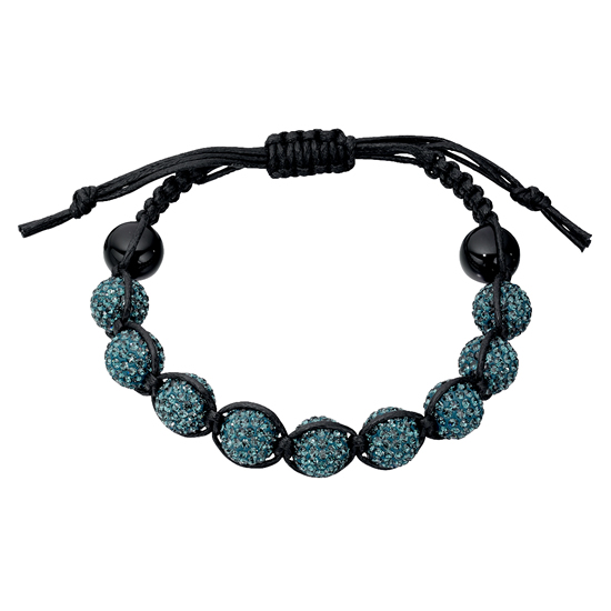 Basics Silver Black Onyx and Crystal Friendship Bracelet - Teal