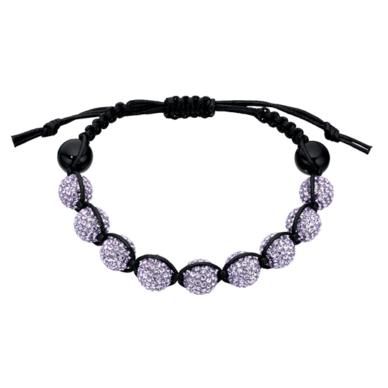 Basics Silver Black Onyx and Crystal Friendship Bracelet - Purple