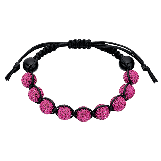 Basics Silver Black Onyx and Crystal Friendship Bracelet - Pink
