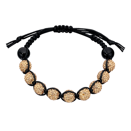 Basics Silver Black Onyx and Crystal Friendship Bracelet - Gold-tone