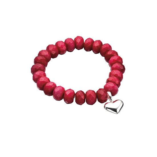 Elements Silver Red Beaded Heart Bracelet