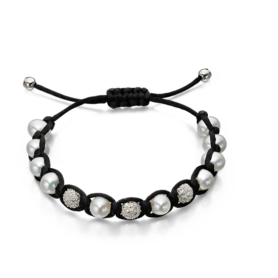 Elements Silver Pearl Friendship Bracelet � Black