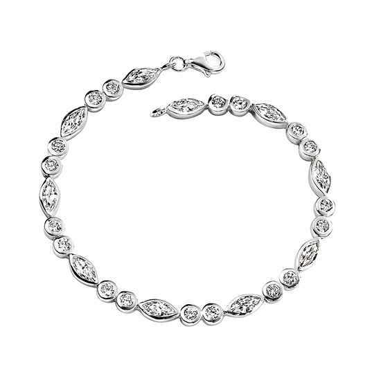 Elements Silver Cubic Zirconia Leaf and Circle Bracelet