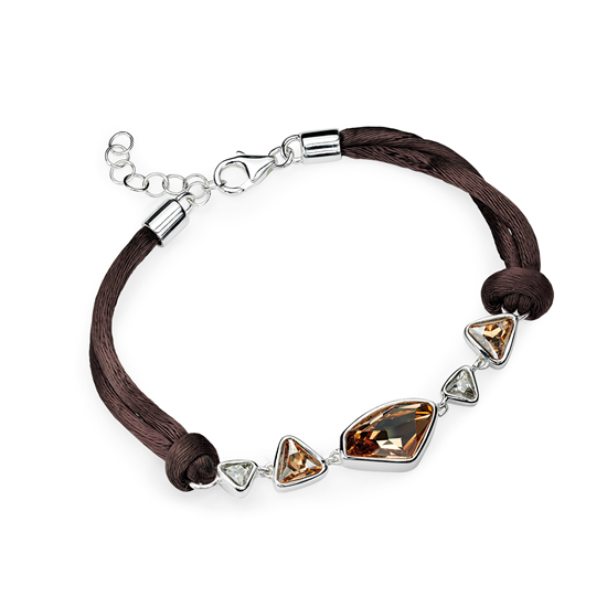 Elements Silver Brown and Gold Crystal Bracelet