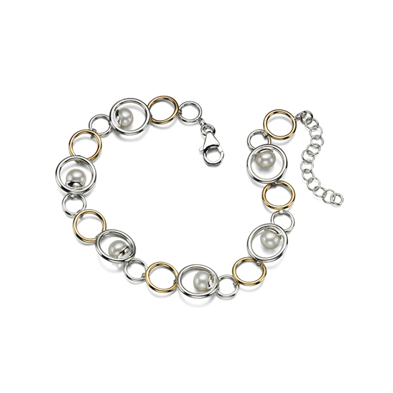 Elements Silver Pearl and Gold Plated Hoop Bracelet