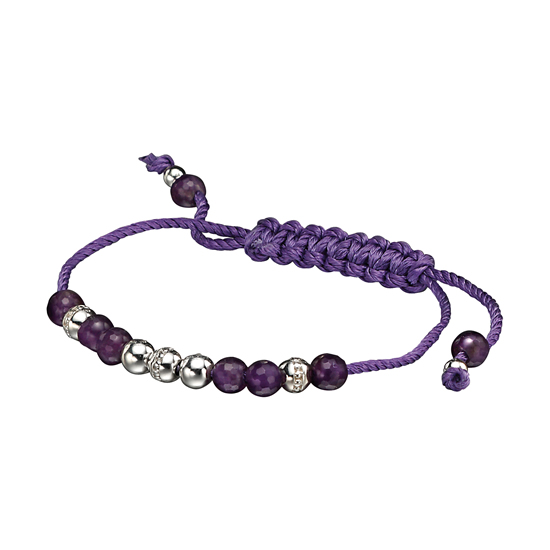Elements Silver Amethyst Beaded Friendship Bracelet