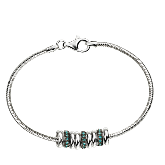 Elements Silver Crystal and Black Rhodium Bracelet