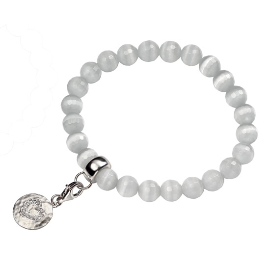 Elements Silver Cubic Zirconia and Catseye Bracelet - White