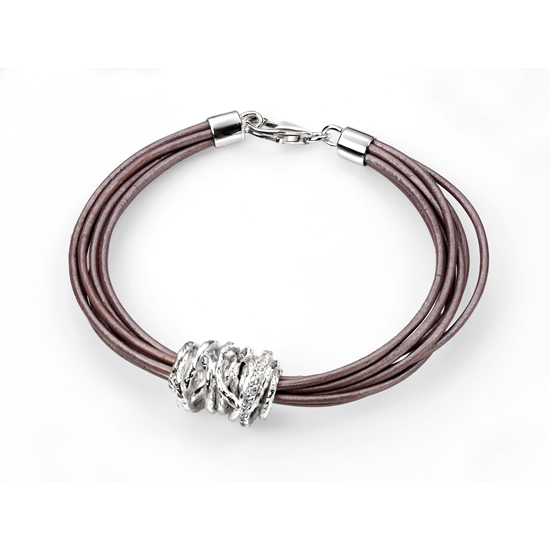 Elements Silver Cubic Zirconia and Brown Leather Bracelet