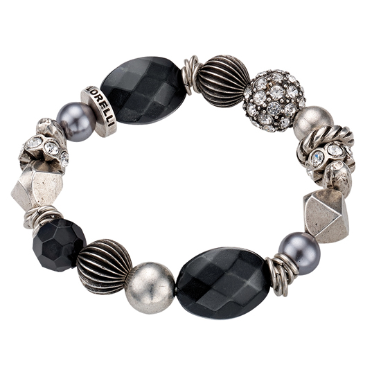 Fiorelli Elasticated Beaded Black and Silver Bracelet