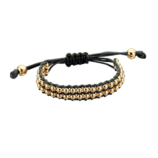 Fiorelli Black Woven Gold Friendship Beaded Bracelet