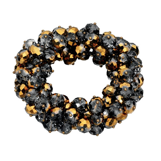 Fiorelli Grey and Gold Scrunchie Style Beaded Bracelet