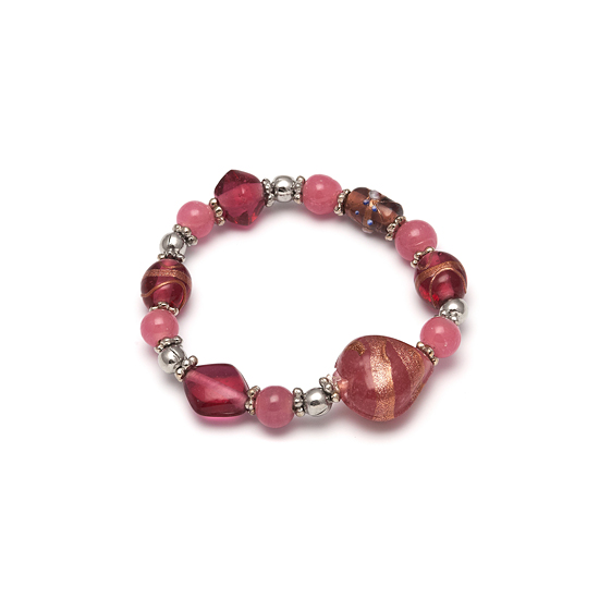 Look East Caramel Heart Bracelet - Pink
