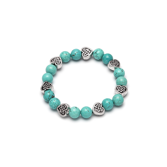 Look East Imitation Turquoise and Celtic Heart Bracelet