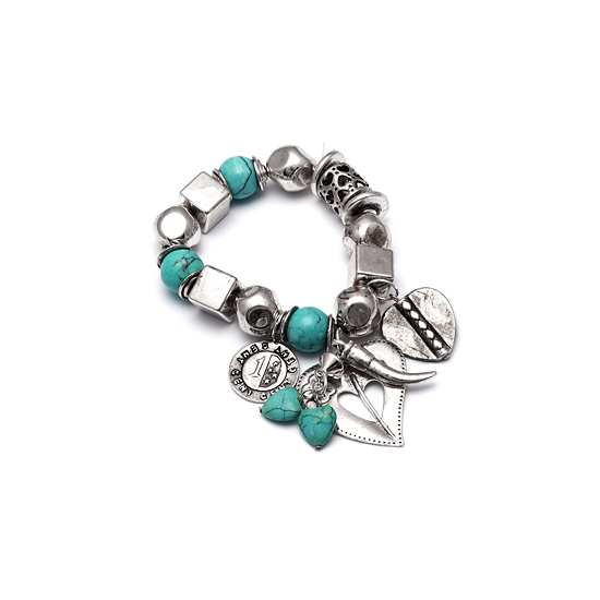 Look East Imitation Turquoise and Aged Silver Charm Bracelet