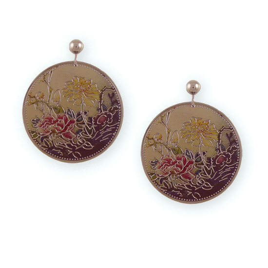 Oriental Peony Flower Disc Clip On Earrings
