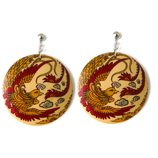 Japanese Yakuza Tattoo Disc Clip On Earrings - Fortune & Courage