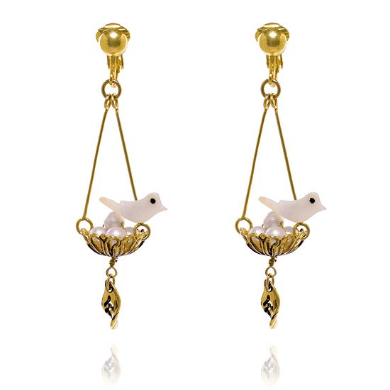 Bird's Nest Clip On Earrings