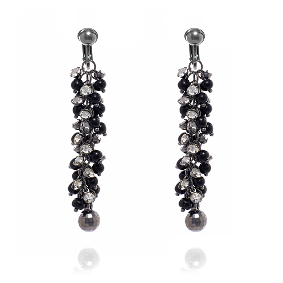 Dangly Cluster Beads Clip On Earrings.