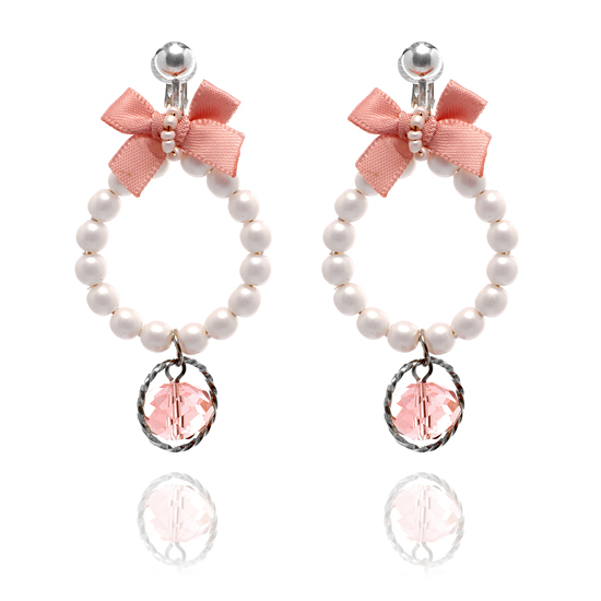 Bow and Bead Pearl Hoop Clip On Earrings