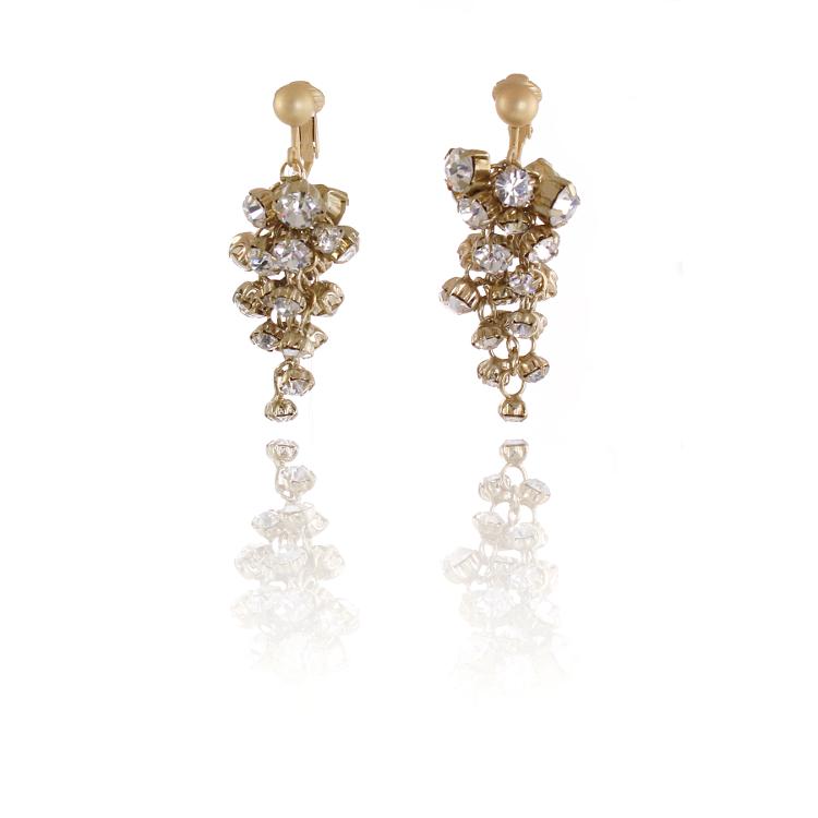 Adele Marie Gold Crystal Cascade Clip On Earrings