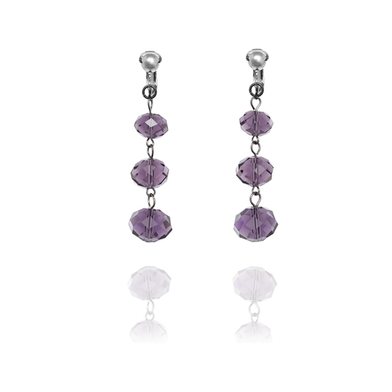 Accessories Triple Faceted Bead Drop Clip On Earrings - Purple