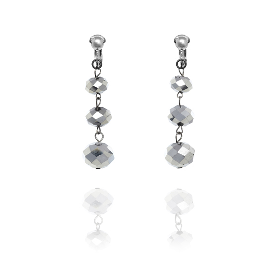 Accessories Triple Faceted Bead Drop Clip On Earrings - Silver