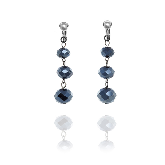 Accessories Triple Faceted Bead Drop Clip On Earrings - Midnight Blue