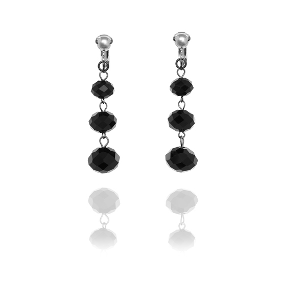 Accessories Triple Faceted Bead Drop Clip On Earrings - Black