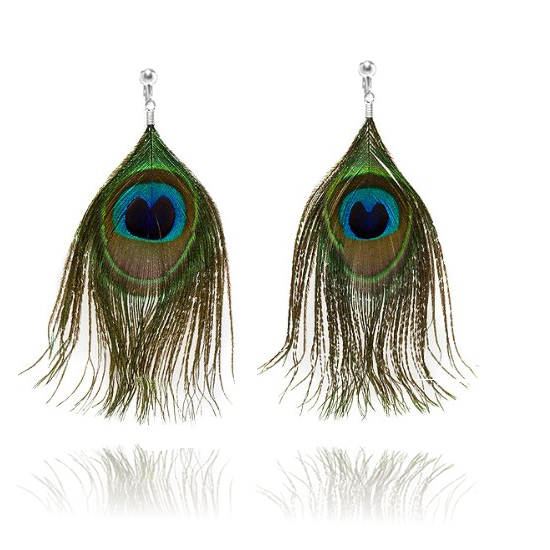 Accessories Peacock Feather Clip On Earrings