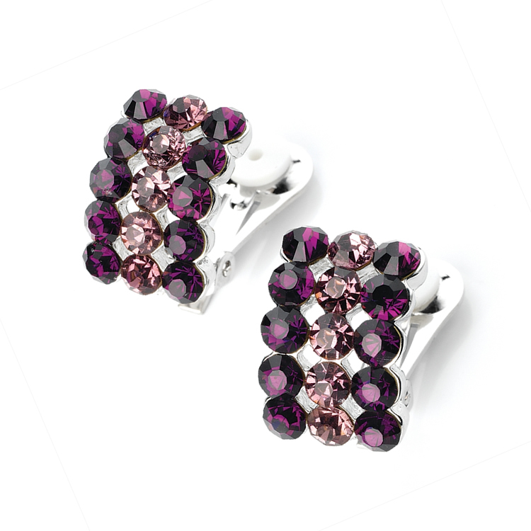 Purple and White Crystal Clip On Earrings
