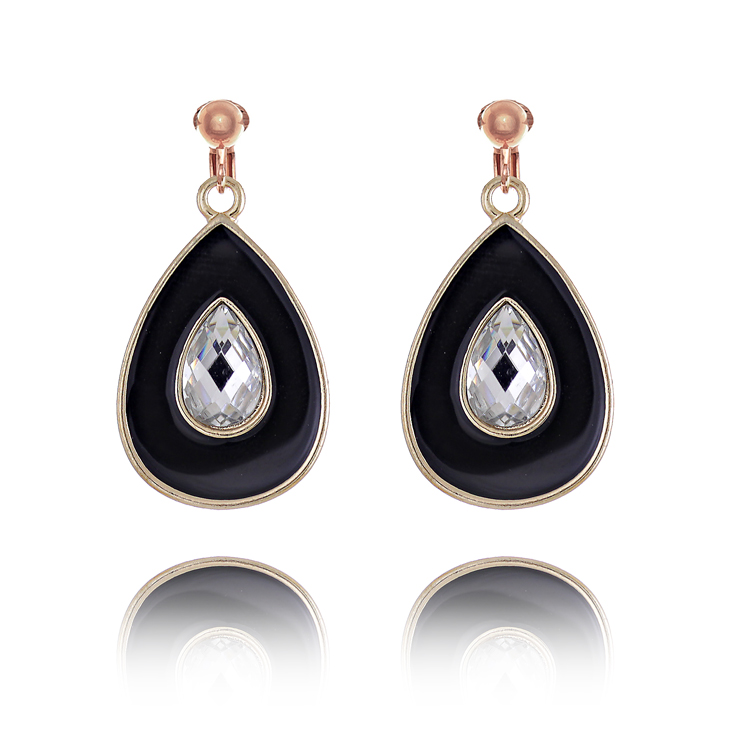 Accessories Crystal and Enamel Teardrop Clip On Earrings - Black