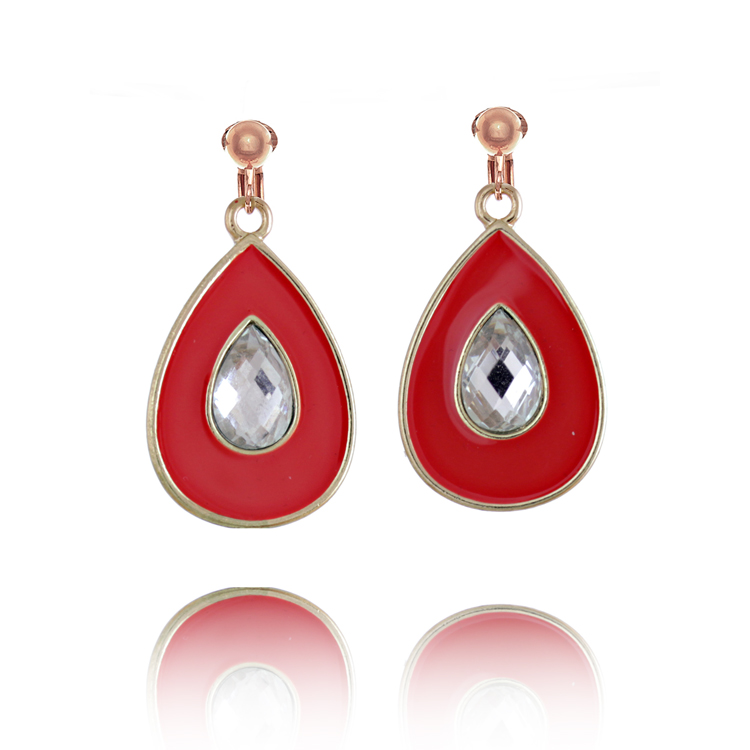 Accessories Crystal and Enamel Teardrop Clip On Earrings - Red