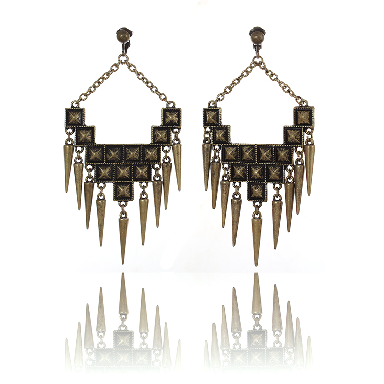 Accessories Statement Spike Chandelier Clip On Earrings - Antique Gold