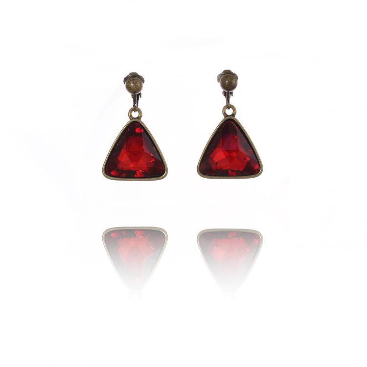 Accessories Red Crimson Drop Clip On Earrings
