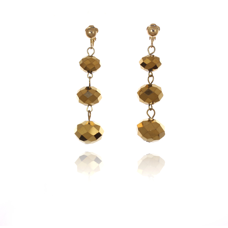 Accessories Triple Faceted Bead Drop Clip On Earrings - Gold