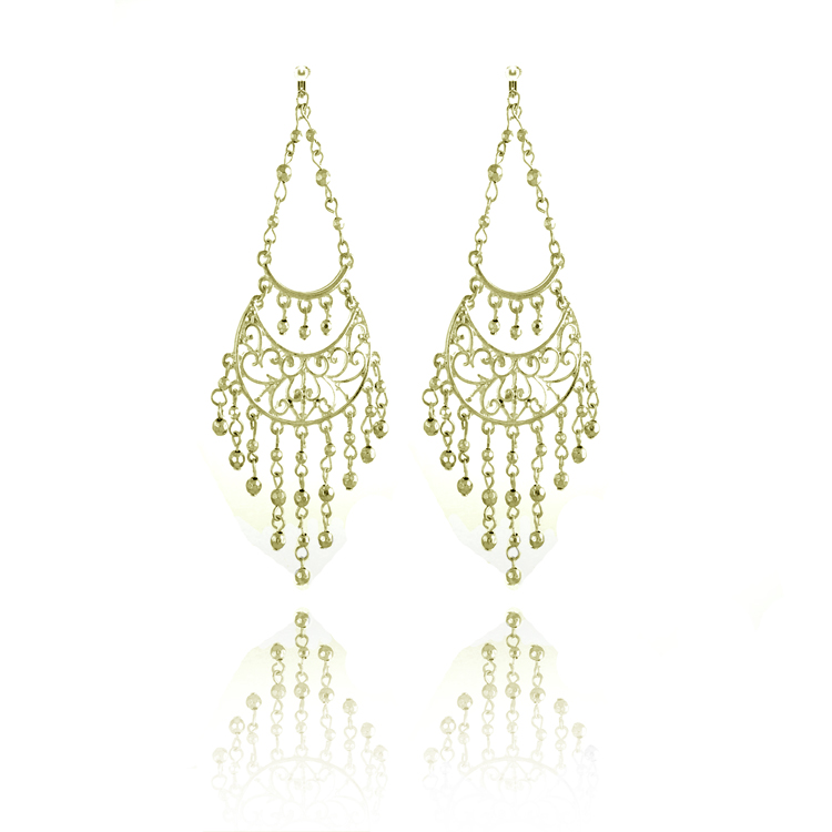 Accessories Ornate Crescent Chandelier Clip On Earrings - Gold
