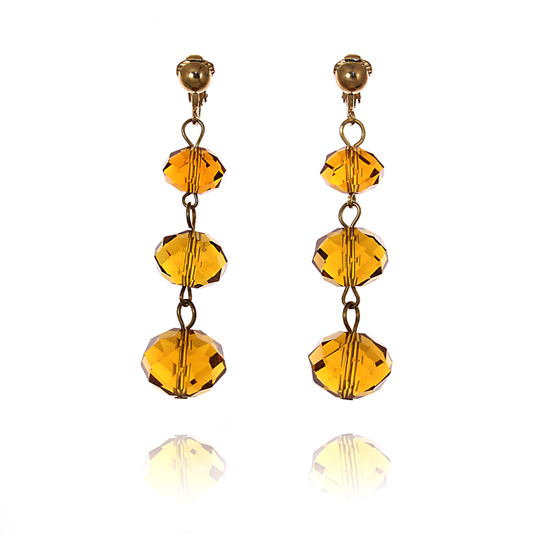 Accessories Triple Faceted Bead Drop Clip On Earrings - Orange