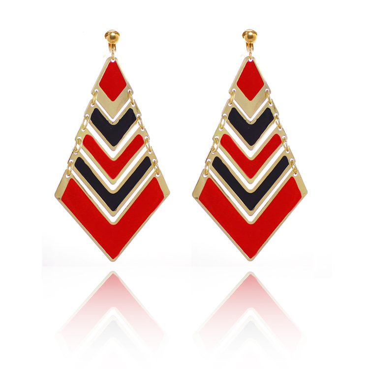 Accessories Art Deco Pyramid Clip On Chandelier Earrings