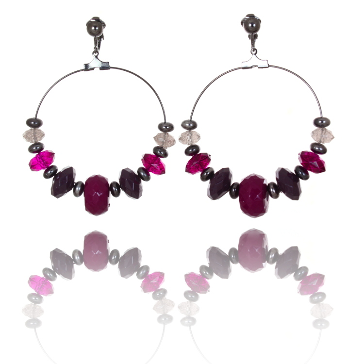 Beaded Hoop Clip On Earrings - Purple