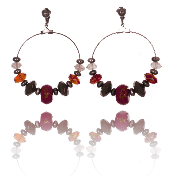 Beaded Hoop Clip On Earrings - Red