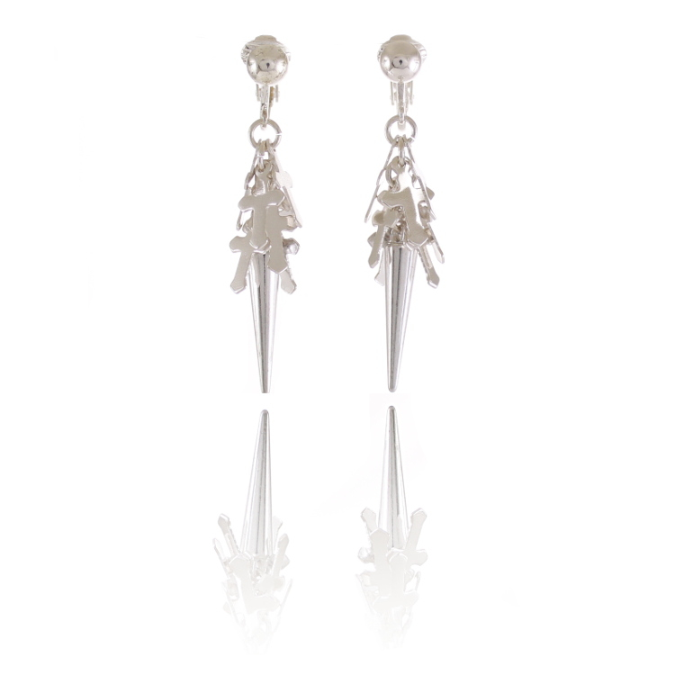 Accessories Punk Drop Clip Earrings - Silver